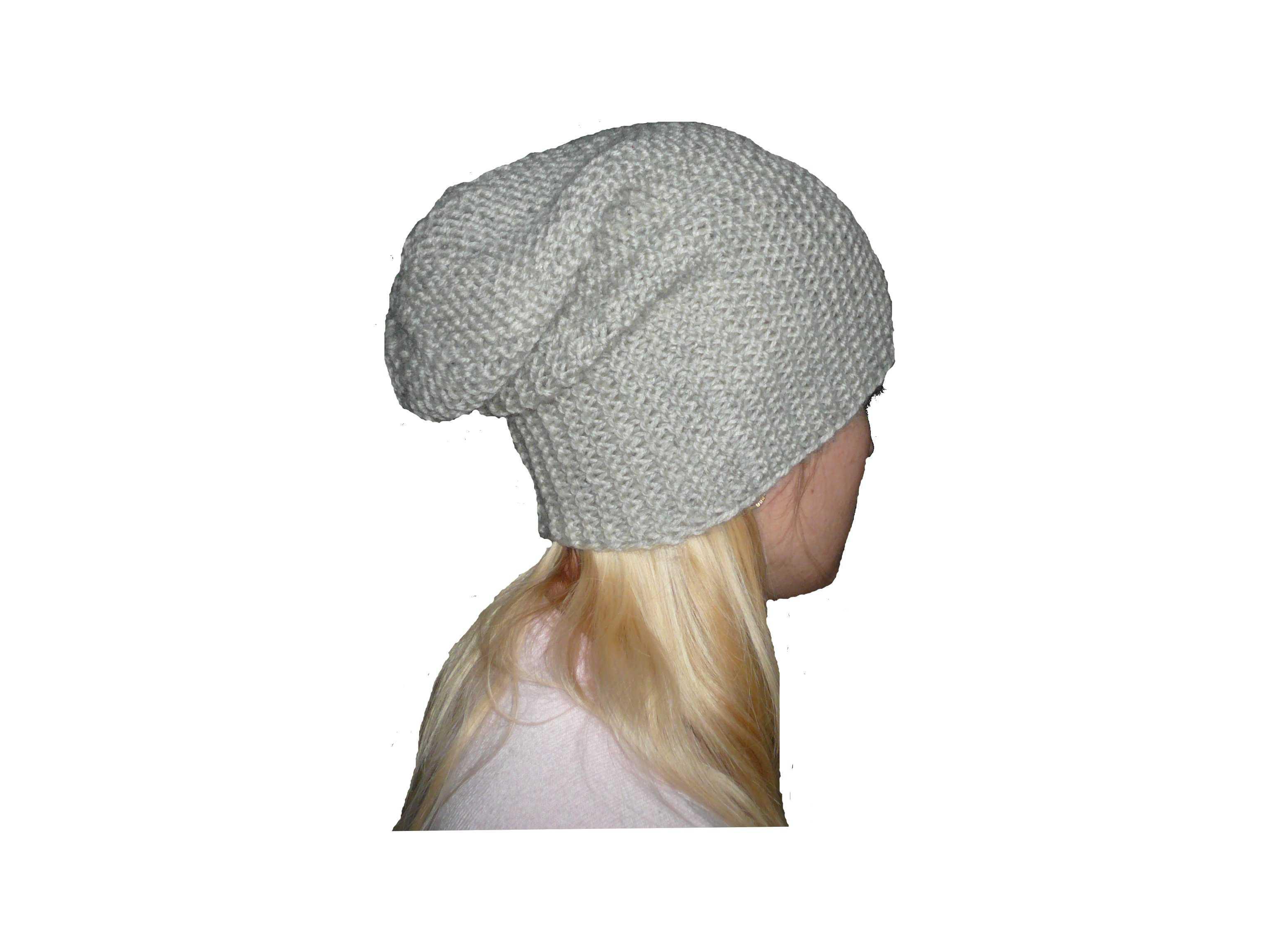 Шапка-чулок поперечного вязания.  Написано. peteliki.ru - вязание.
