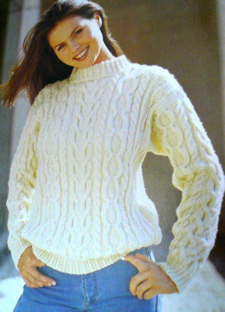 вязание спицами пуловер с узором косы