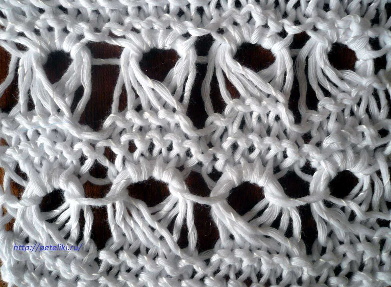 вязаные спицами узоры из удлиненных петель