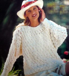 вязание крючком пуловер ажурный