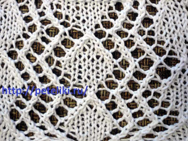 Вязание спицами схема узора ажурные ромбы.
