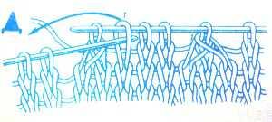 как провязать три петли способом перекида