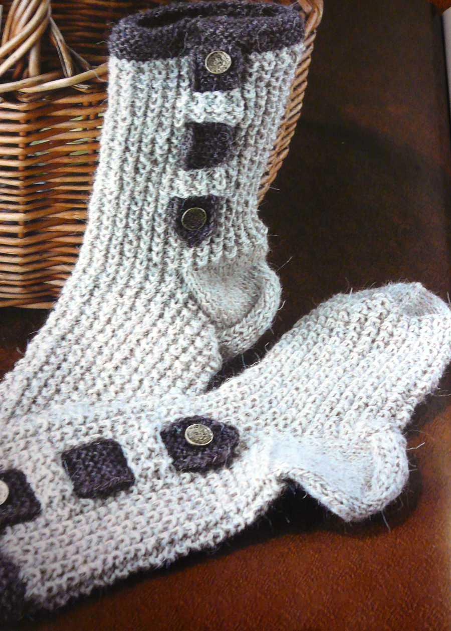 вязание спицами - носки с жемчужным узором