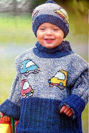 вязание спицами - пуловер с машинками