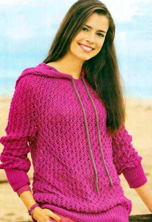 вязание спицами - ажурный пуловер с капюшоном
