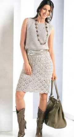 Светлое платье крючком