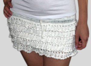 ажурная мини-юбка крючком
