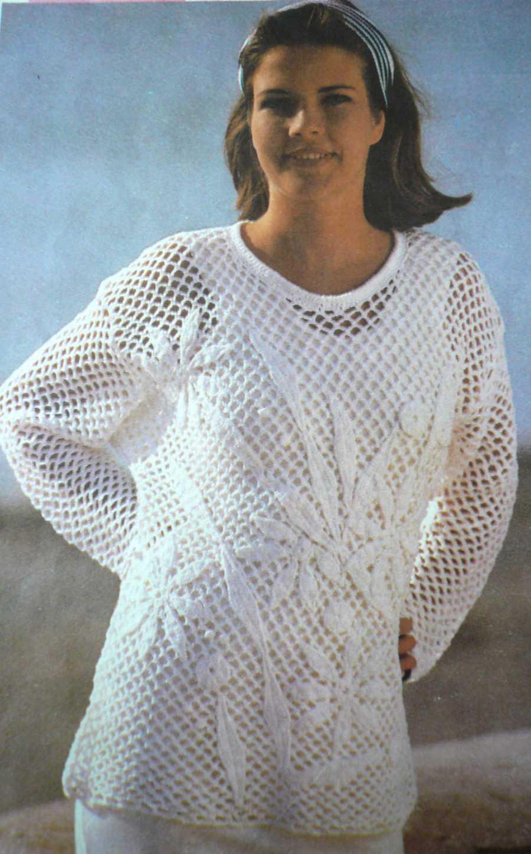 вязание крючком - пуловер с цветами