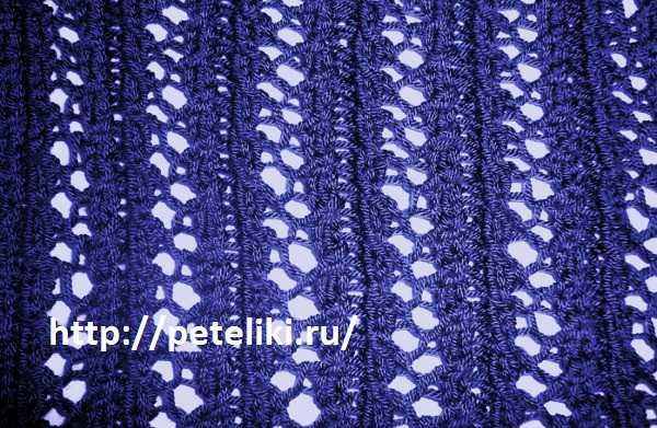 Ажурный узор спицами полосы из зигзагов | вязание