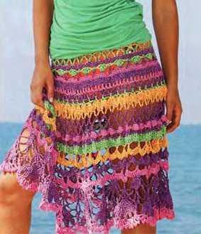 Яркая кружевная юбка вязаная крючком ...