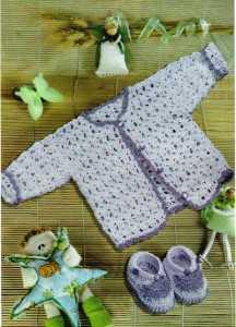 кофточка и пинетки для новорождённого крючком