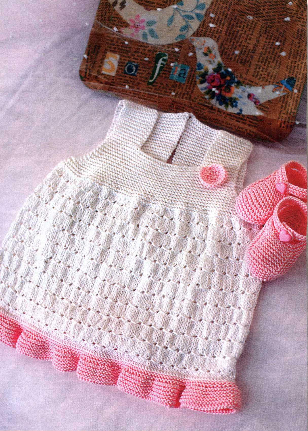 Сарафан и пинетки для новорождённого спицами