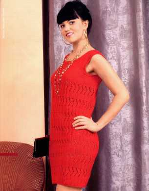 красное платье вязаное спицами