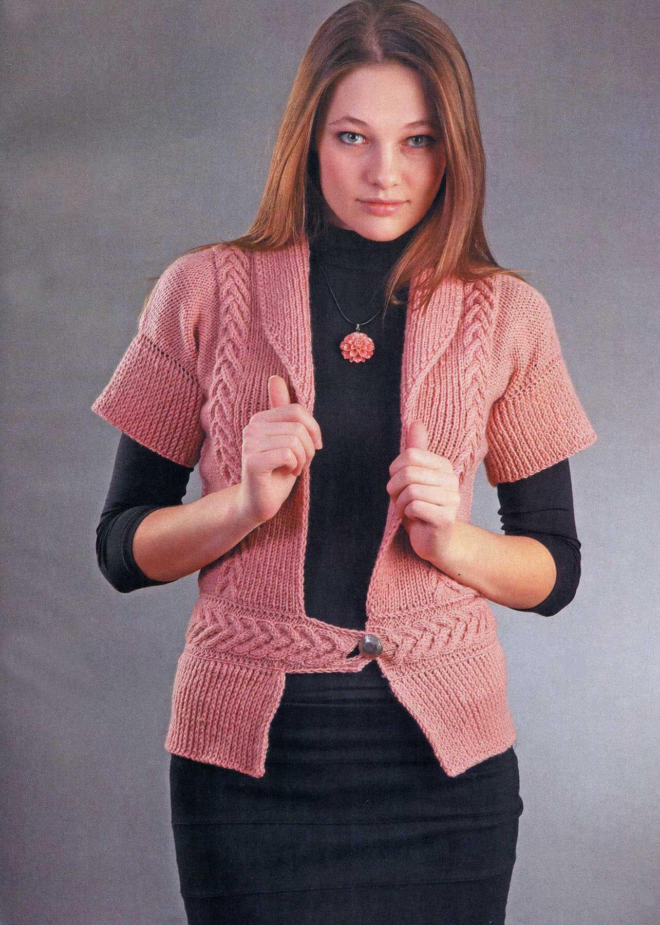 розовый жакет вязаный спицами