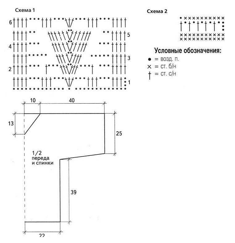 Ажурная туника вязаная крючком схема