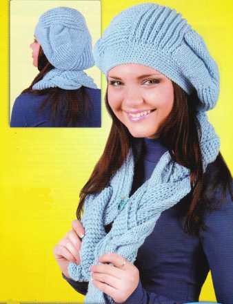 Берет и шарф вязаный спицами