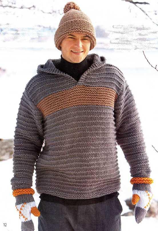 Мужской пуловер с капюшоном связан в