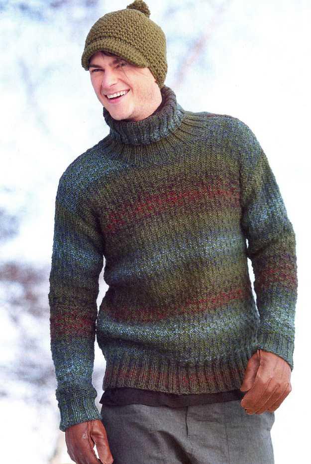 Мужской пуловер вязаный спицами рельефным узором