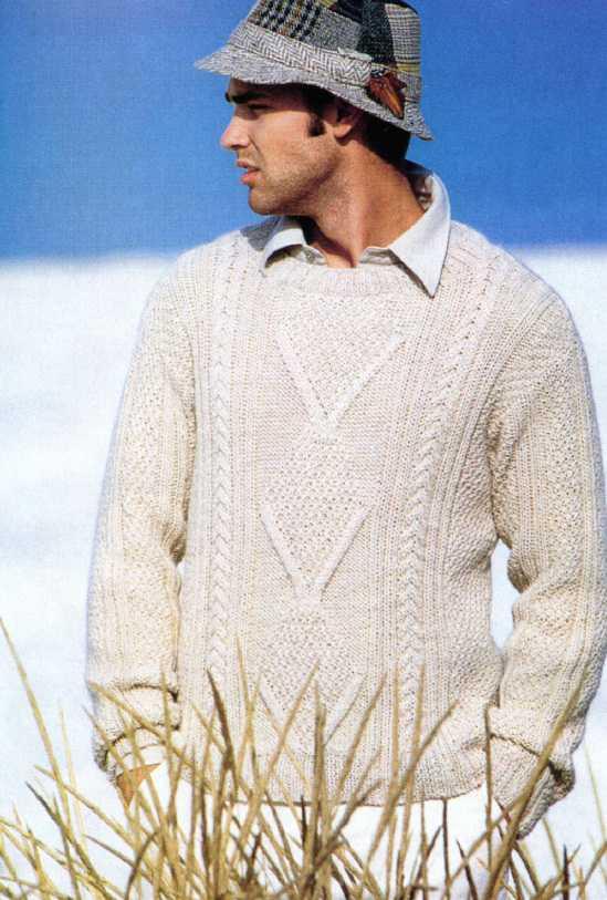 Мужской пуловер вязаный спицами с фактурным рисунком