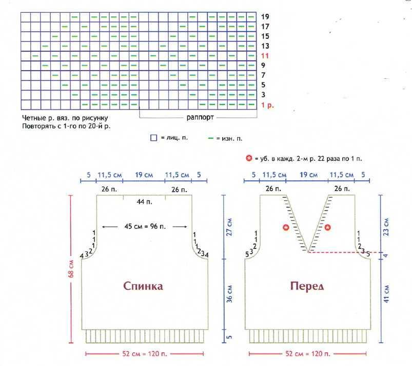 Схемы и описание крупного вязанного рисунка на спицах рисунка