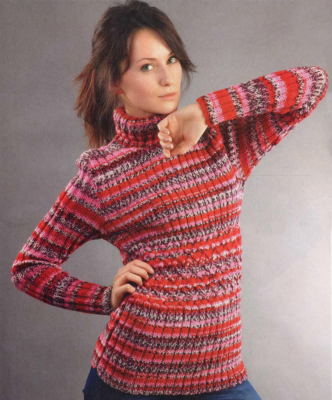 Свитер с плетёным узором вязаный спицами