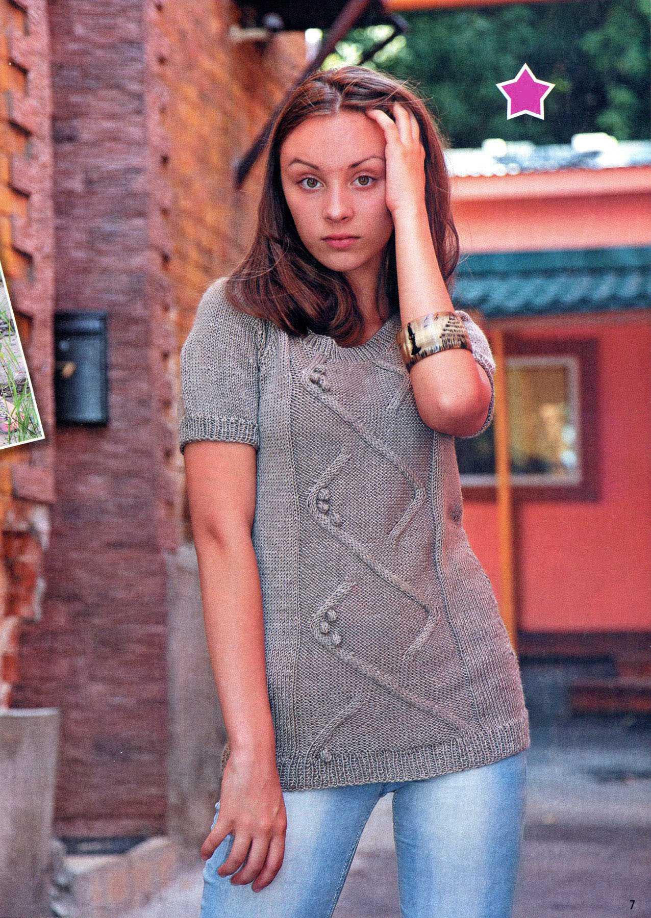 пуловер с коротким рукавом вязаный спицами