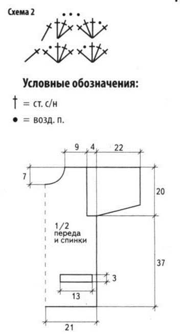 схема узора №2 и выкройка вязаного жакета