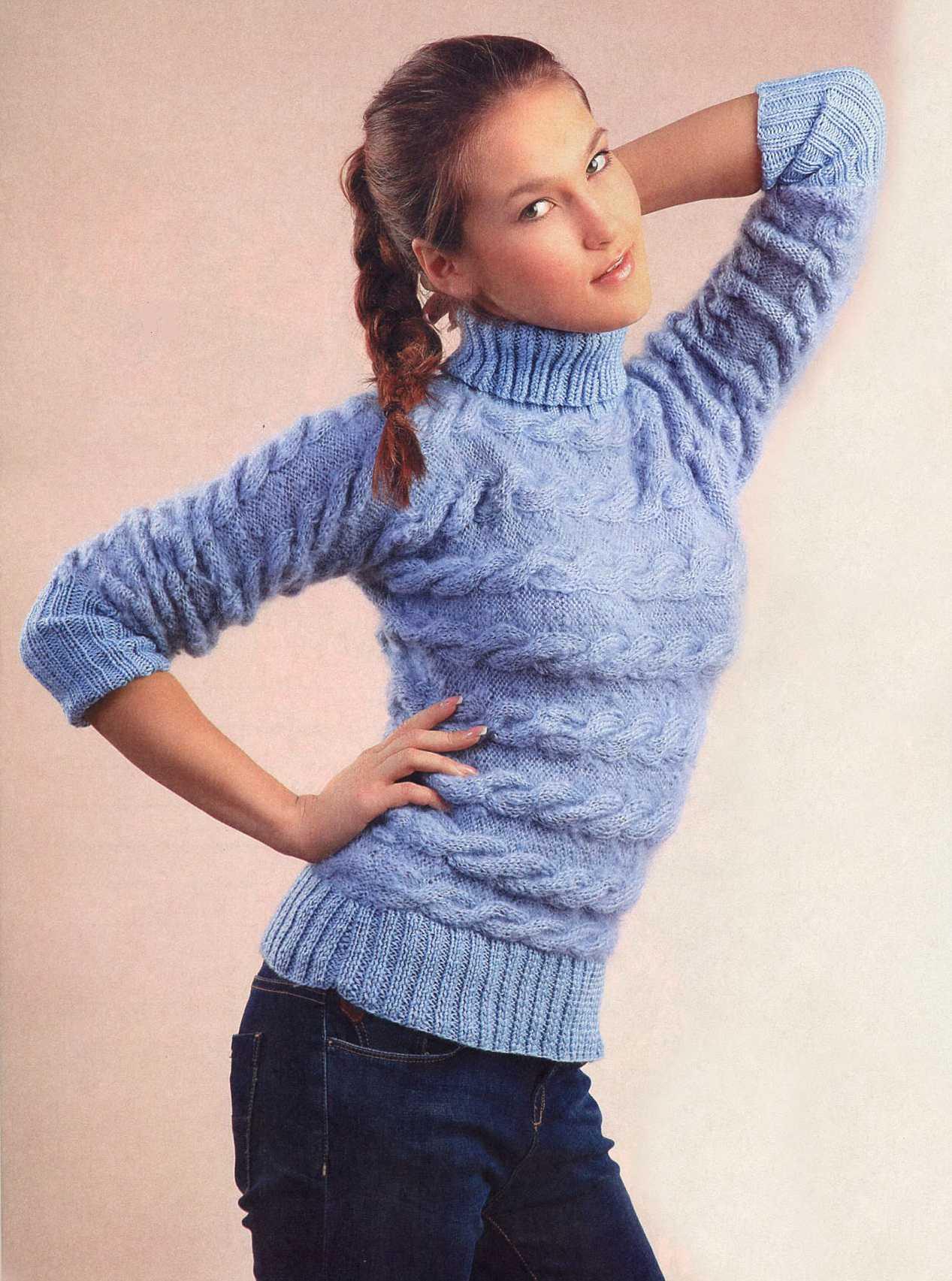 свитер с косами вязаный спицами