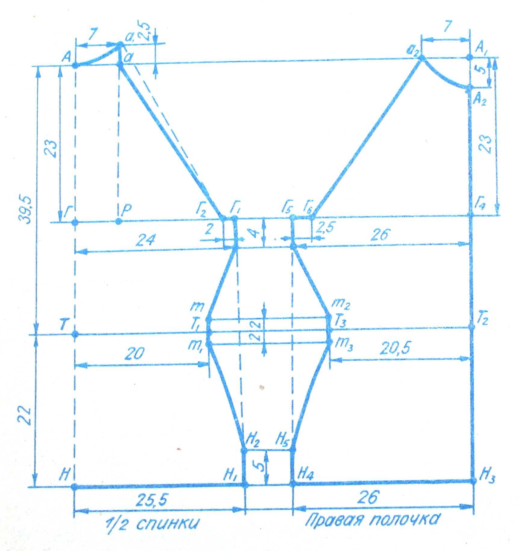построение чертежа выкройки спинки для вязанного пуловера с рукавом реглан