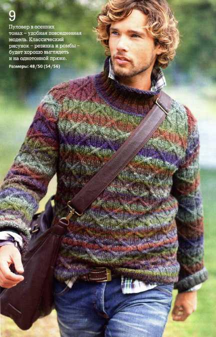 Мужской пуловер из секционноокрашенной пряжи вязаный спицами