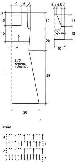 Схема 1 и выкройка вязания платья крючком