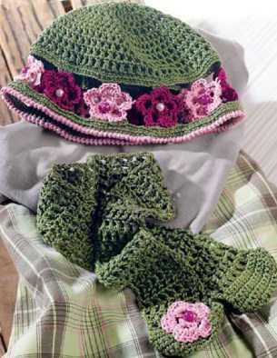 Детская шапочка и шарф вязаные крючком