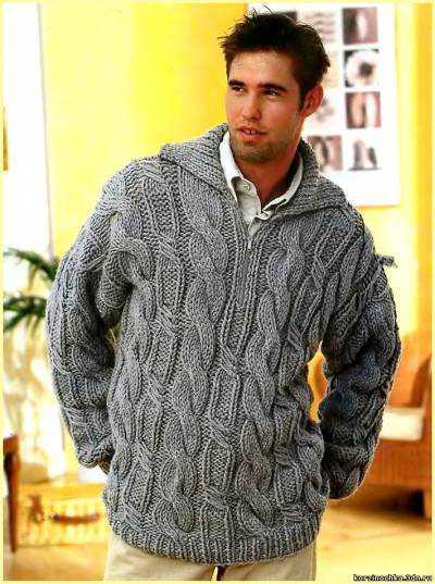 Мужской пуловер вязаный спицами