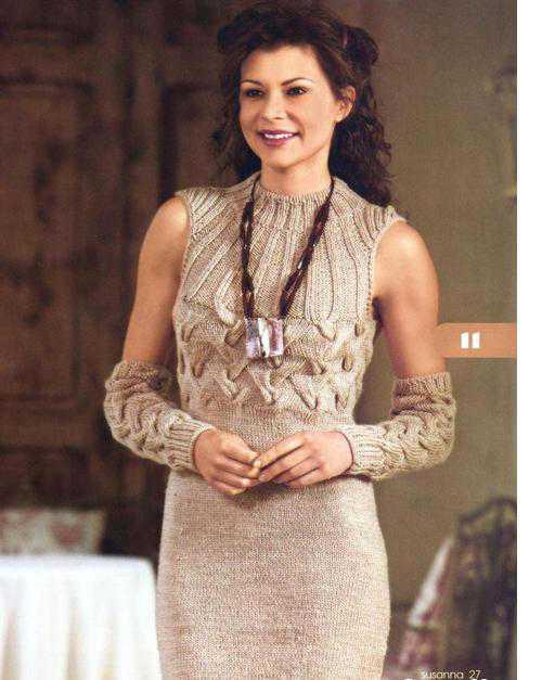 Платье и рукава вязаные спицами