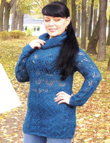 Бирюзовый пуловер реглан вязаный спицами