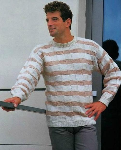 Мужской пуловер крупным жемчужным рисунком