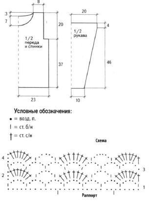 Пуловер золотистого цвета вязаный крючком схема
