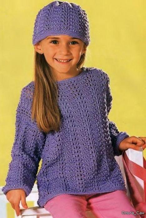 Шапочка и пуловер для девочки