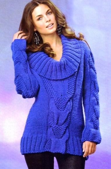 Женский свитер реглан вязаный спицами