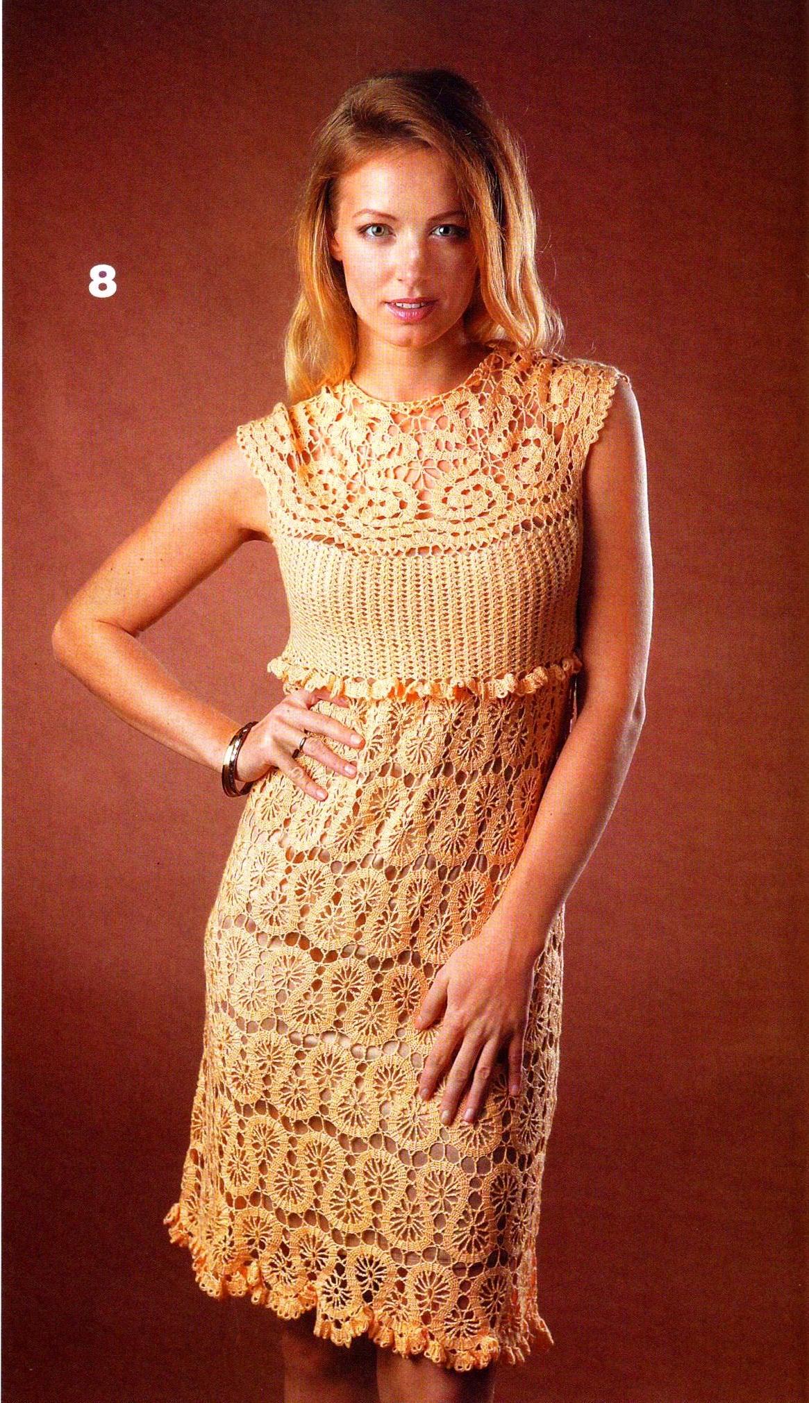 Платье из брюгского кружева вязаное крючком