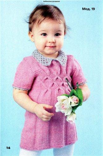 Платье вязаное спицами для деовчки 1 год