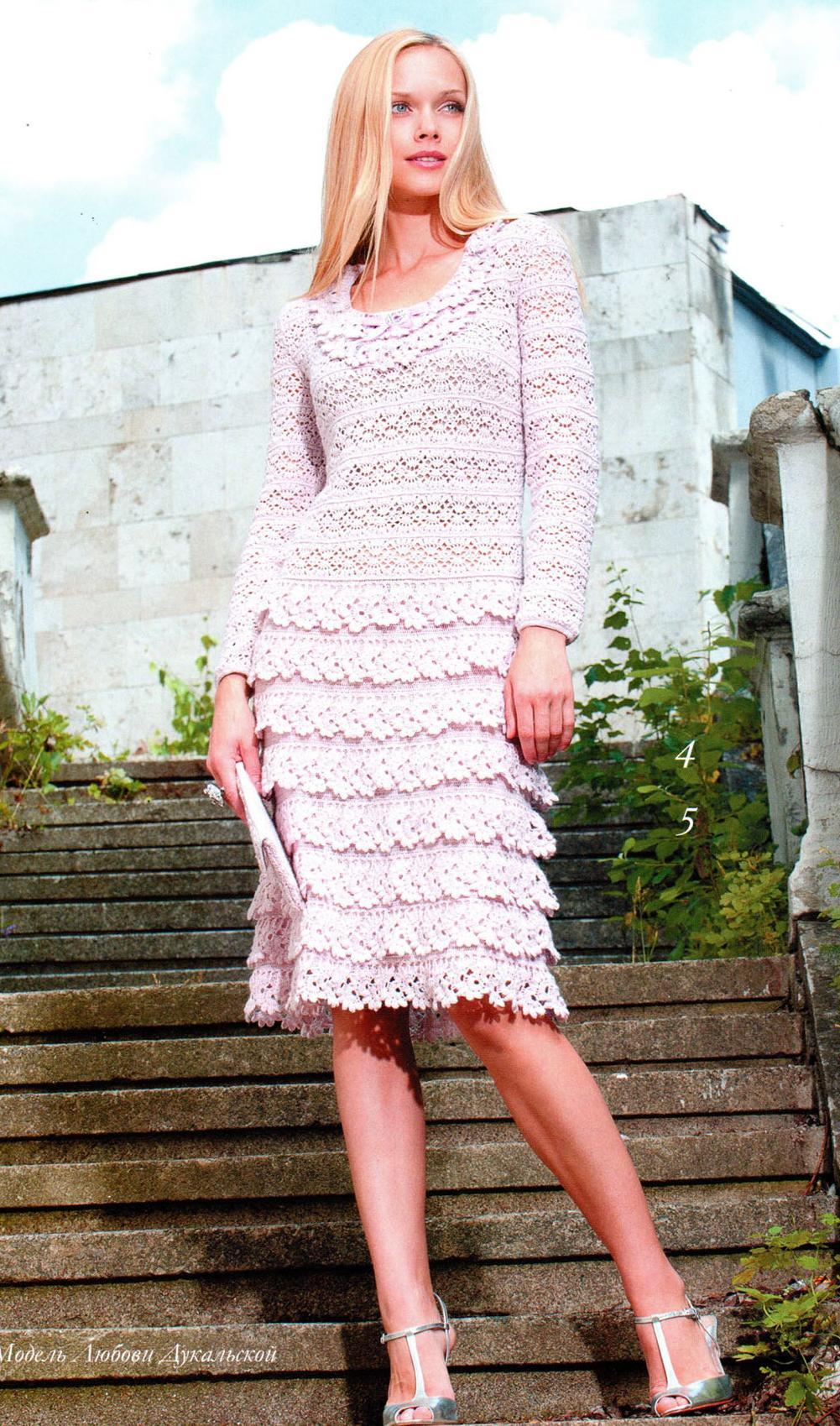 Вязание крючком элегантных платьев