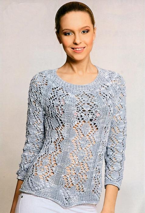 Ажурный пуловер вязанный спицами