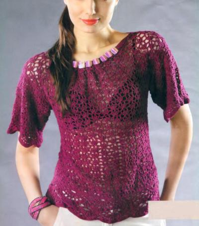 Бордовый пуловер вязаный крючком
