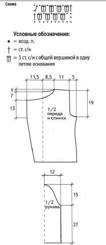 Двубортный жакет вязаный крючком схема