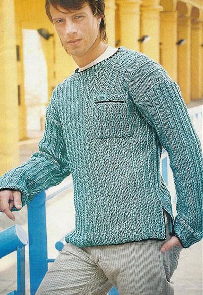 Мужской пуловер с патентной косой вязаный спицами