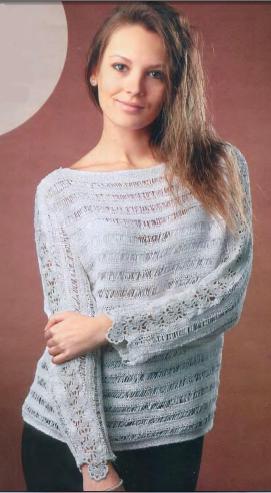Пуловер с ажурными вставками вязаный спицами