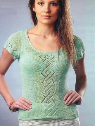 Пуловер цвета мяты вязаный спицами