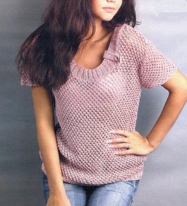 Сетчатый пуловер вязаный спицами