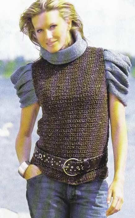 Женский пуловер с короткими рукавами в сборку